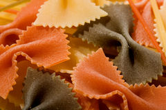 Colorful pasta. Colorful dried tri-colored farfalle pasta Royalty Free Stock Photo