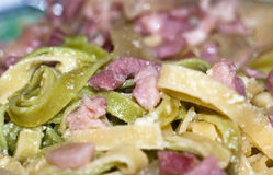 Colorful pasta alla carbonara Stock Images
