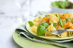 Colorful pasta with asparagus and rocket pesto royalty free stock image