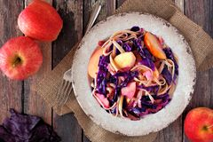 Colorful pasta dish with apples, purple cabbage, above scene Royalty Free Stock Photos