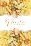 Colorful pasta frame on a white Stock Photography
