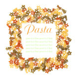 Colorful pasta frame on a white Stock Photo