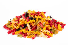 Colorful pasta fusilli Stock Images