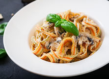 Colorful Pasta pappardelle with mushrooms Royalty Free Stock Images