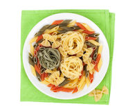Colorful pasta on plate Stock Photos