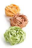 Colorful pasta tagliatelle Stock Images