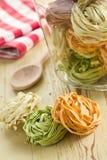 Colorful pasta tagliatelle Stock Image