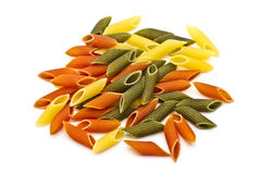 Colorful pasta (Tricolore). Closeup on white background Royalty Free Stock Photo