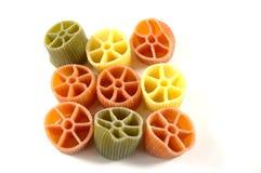 Colorful pasta on white Stock Photo