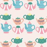 Colorful pastel cakes in a seamless pattern design