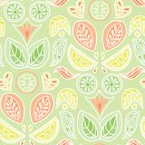 Colorful pastel citrus fruit and leaves damask design in a folk art style. Seamless vector pattern. Great for home decor, fabric, stationery, paper goods stock illustration