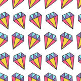 Colorful pastel diamond brilliant stone. Seamless Pattern Wrapping paper, textile template. White background. Flat design. Vector illustration Royalty Free Stock Photo
