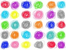 Colorful pastel doodle circle drawing isolate on white background. Color crayon illustration. royalty free illustration