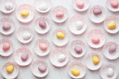 Colorful pastel Easter eggs , mini chocolate candy eggs traditio Royalty Free Stock Photo