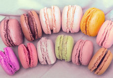 Colorful pastel macaroons, toning Stock Photography