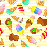 Colorful pastel pattern of ice cream on a striped background. stock illustration
