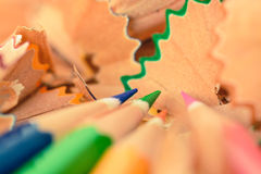 Colorful pastel pencil shavings Royalty Free Stock Image