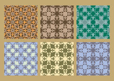 Colorful pastel set of seamless floral patterns vintage backgrounds. Collection royalty free illustration