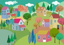 Colorful Pastel Village Landscape royalty free illustration