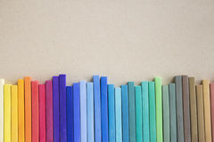 Colorful pastels lined up Stock Photo