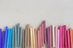 Colorful pastels lined up Royalty Free Stock Photography