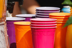 Colorful Pastic Cups. Stacks of Colorful Pastic cups, waiting for beverages royalty free stock images