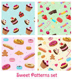 Colorful Pastry And Confectionery Patterns Set Royalty Free Stock Image