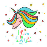 Colorful patch with unicorn, heart, star, in bright rainbow colors. Hand drawn  Illustration with lettering for kid textile, Royalty Free Stock Photography
