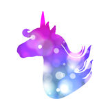 Colorful patch with unicorn silhouette, bright colors. Background under clipping mask. Hand drawn  Illustration for kid text Royalty Free Stock Photos