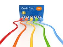Colorful patchcords connected to credit card. Royalty Free Stock Image