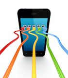 Colorful patchcords connected to mobile phone. Royalty Free Stock Photography