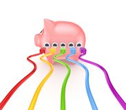 Colorful patchcords connected to piggy bank. Royalty Free Stock Photography