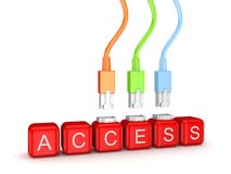 Colorful patchcords and word Access. Stock Image