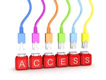 Colorful patchcords and word Access. Royalty Free Stock Image