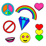 Colorful patches collection with heart, rainbow Stock Photos