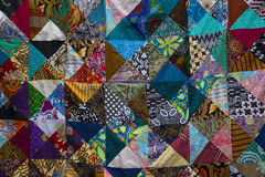 Colorful patchwork quilt. With square patches royalty free stock images
