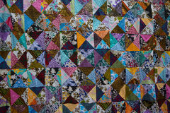 Colorful patchwork quilt. With square patches royalty free stock image