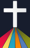 Colorful path to white Christian cross on dark background | illustration design faith concept Royalty Free Stock Photos