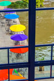 Colorful patio umbrella's. Nice patio by the riverwalk from San Antonio Royalty Free Stock Image