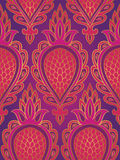 Colorful pattern with abstract fruit. Seamless filigree ornament. Pink and purple template for wallpaper, textile, shawl, carpet Royalty Free Stock Photos
