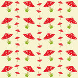 Colorful pattern with amanitas Stock Images