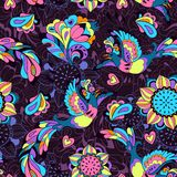 Colorful pattern with bird Phoenix and sunflower. Seamless pattern or background with sunbird Phoenix and sunflower in violet style for your design Stock Photography