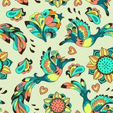 Colorful pattern with bird Phoenix and sunflower Stock Photos