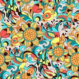 Colorful pattern with bird Phoenix and sunflower Royalty Free Stock Image