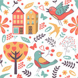 Colorful pattern with birds, flowers and houses stock illustration