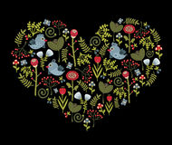 Colorful pattern with birds and flowers. Vector illustration in heart shape Stock Photography