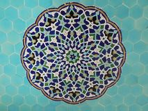 Colorful pattern on blue tiles mosque decoration stock photos
