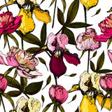 Colorful pattern with bright flowers  Stock Images