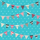 Colorful pattern with bunting and garland Stock Images