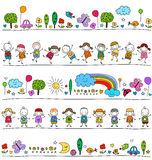 Colorful pattern with children and cute nature elements Royalty Free Stock Photo
